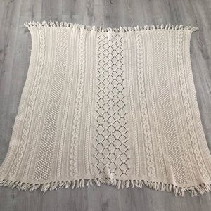 VNTG Fishermans Knit Cable Throw Handmade 46 x 51